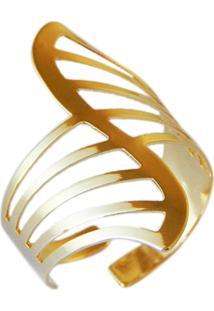 Anel Horus Import Gladiador Listrado Vazado Banhado Ouro 18 K Amarelo - 1010027 - Dourado