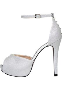 97b9414bb R$ 179,90. Kanui Sandália Meia Pata Week Shoes Glitter Prata