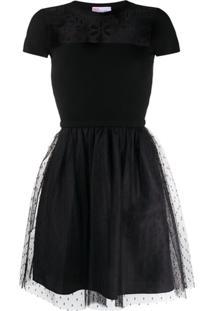 Redvalentino Vestido Mini Evasê Com Tela - Preto