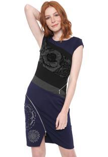 d2d409402e Vestido Desigual Curto Candela Azul-Marinho