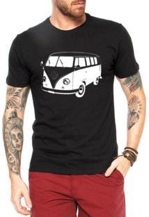 Camiseta Criativa Urbana Kombi Modernizada - Masculino-Preto