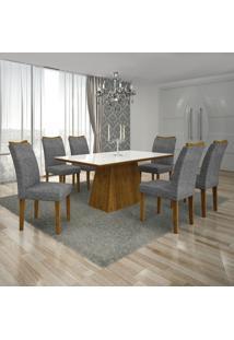 Conjunto Mesa Pampulha 1,80X0,90M 6 Cadeiras Vidro Branco Linho Cinza - 7340.39.58.24 Leifer
