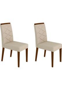 Conjunto Com 2 Cadeiras Caroline I Castanho E Creme
