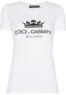 Dolce & Gabbana Blusa Com Logo E Aplicações - Branco