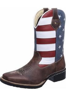 Bota Laço De Prata Texana Americana Eua Bico Quadrado Marrom