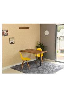 Conjunto De Mesa Dobrável Retrátil 120 X 75 Noronha + 2 Cadeiras Eiffel - Amarela