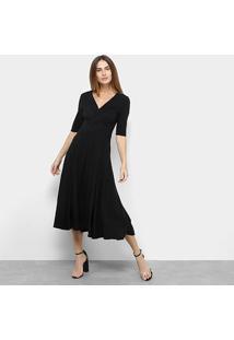 Vestido Midi Lança Perfume Evasê Transpassado - Feminino-Preto