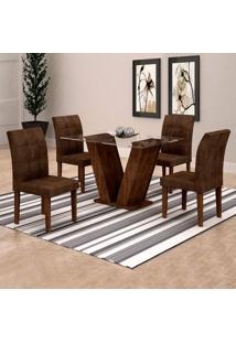 Conjunto De Mesa De Jantar Classic Com 4 Cadeiras Vitória Veludo Chocolate Marrom