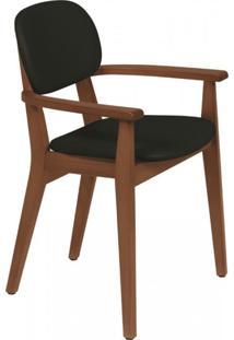 Cadeira Estofada Com Braços London Tramontina Amêndoa/Preto