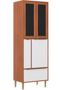 Paneleiro C/ Porta Tempero Com Moldura De Vidro 5406 – Multimóveis. - Nogueira / Branco