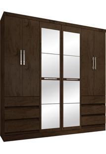 Guarda-Roupa Casal Com Espelho 6 Portas E 6 Gavetas 4177-Araplac - Imbuia