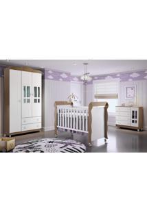Quarto De Bebê Guarda Roupa 3 Portas, Cômoda Fraldário E Berço Mirelle Carolina Baby Branco/Amadeirado