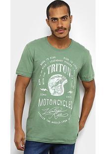 Camiseta Triton Motorcycle Masculina - Masculino-Verde Escuro