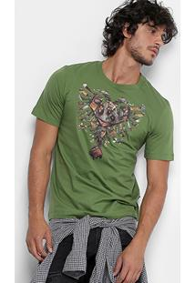 Camiseta Cavalera Gola Águia Recortes Masculina - Masculino