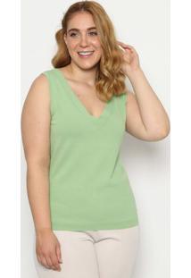 Blusa Lisa Em Tricã´ - Verde Claro- Cotton Colorscotton Colors Extra