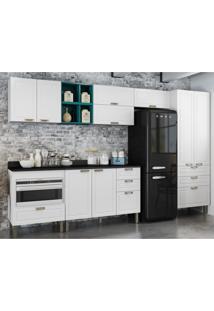 Cozinha Completa 10 Peã§As Americana Multimã³Veis 5658Mf Branco/Verde - Branco/Incolor - Dafiti