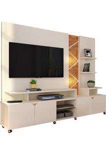 Estante Home Theater Para Tv Até 55 Pol. Cross Off White/Amêndoa - Luk