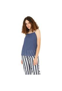 Blusa Leboh Decote Quadrado Alça Básica Azul