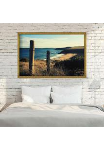Quadro Love Decor Com Moldura Beach Paradise Dourado Médio