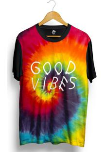 Camiseta Bsc Tie Dye Good Vibes Full Print - Masculino-Preto