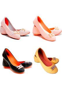 Kit 4 Pares Sapatilhas Feminina Estilo Shoes