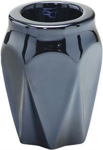 Vaso Em Cerâmica Redondo 11,5X9Cm Chumbo