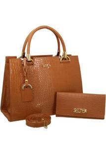 Kit Selten Bolsa Handbag Textura Croco Alça Removível & Carteira Feminina - Feminino-Marrom