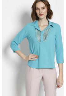 e0ad9bfe5c ... Camisa Texturizada Com Renda- Verde Água- Silk Lordsilk Lord