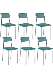 Cadeira 1709 Cromada 06 Unidades Turquesa Carraro