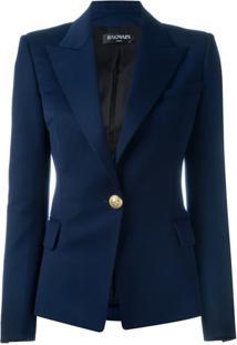 Balmain Blazer Com Abotoamento Único - Azul