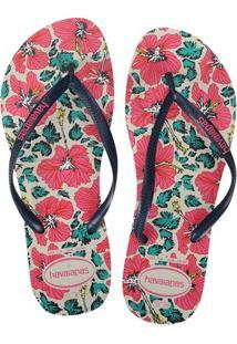 c3da73f0898a3a Chinelo Feminino Slim Havaianas Pink Azul Marinho Floral Sandália -  Feminino-Pink+Marinho