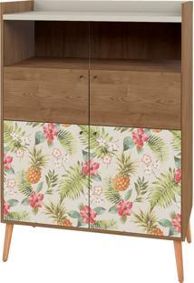 Cristaleira Style 4 Portas Pé Palito Natural - Lider Design - Buriti / Floral