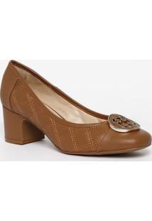 Sapato Tradicional Em Couro Com Pespontos- Marrom Claro
