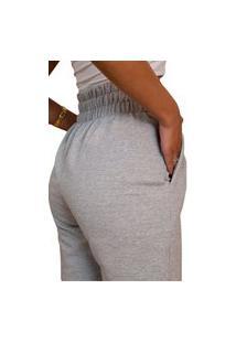 Calça Feminina Moletom Jogger Slim Básica Moda Inverno 2021 Cinza