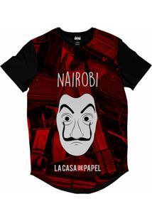 Camiseta Longline Attack Life La Casa De Papel Nairobi Sublimada Vermelho