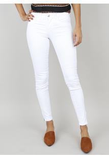 11f39ae8e ... Calça De Sarja Feminina Super Skinny Cintura Alta Branca