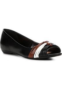 Sapatilha Shoestock Tiras Color Feminina - Feminino-Preto