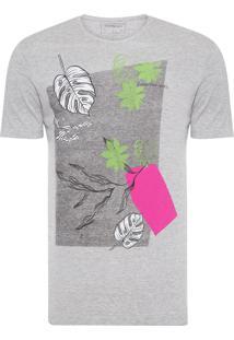 Camiseta Masculina Estampa Geométrica - Cinza