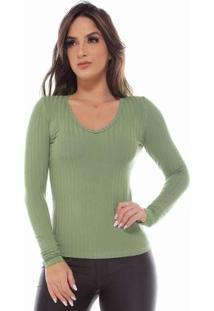 Blusa Moleton Decote Em V Canelado Liso Verde