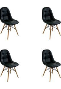 Kit 04 Cadeiras Eiffel Botone S/ Braço Preto Rivatti