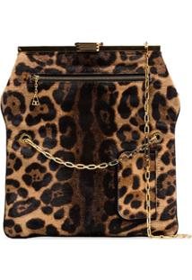 Bienen Davis Clutch Com Animal Print - Marrom