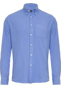 Camisa Masculina Oxfor Tinturada - Azul