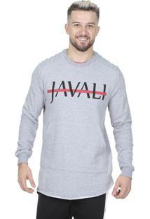 "Blusã£O Em Moletom ""Javaliâ®""- Cinza & Preto- Javalijavali"