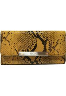 Carteira Em Couro Recuo Fashion Bag Cobra Amarelo