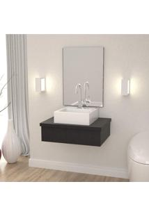 Conjunto Para Banheiro Gabinete 60Cm Cuba Q35 E Espelheira 601W Metrópole Compace Preto Onix