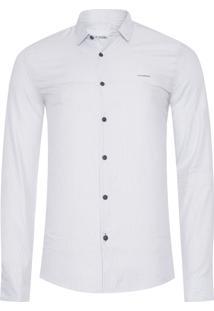 Camisa Masculina Listras Avesso - Branco
