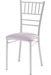 Cadeira 147 Empilhavel Com Assento Estofado Branco -12309 - Sun House