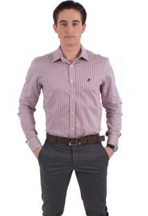 Camisa Social Listrada Horus Slim 100227 Vermelha