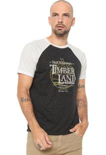 Camiseta Timberland Raglan Hicker Grafite/Off-White
