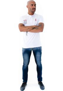 Camisa Polo Rockstar Vodka Branca